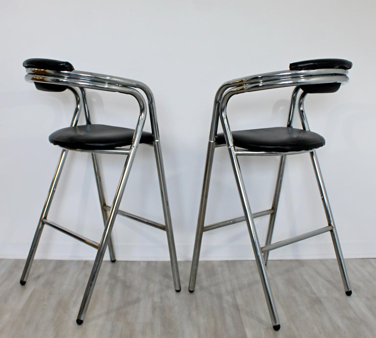 Mid-Century Modern Set of 4 Chrome & Black Leather Bar Stools Industrial, 1970s For Sale 1