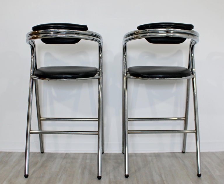 Mid-Century Modern Set of 4 Chrome & Black Leather Bar Stools Industrial, 1970s For Sale 2