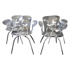 Mid-Century Modern Set of 4 Clear Lucite Acrylic Dining Accent Armchairs, 1970s