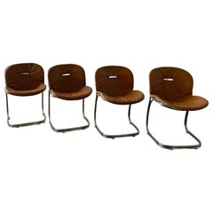 Mid-Century Modern Set of 4 Gastone Rinaldi Leather 'Sabrina' Chairs, 1970s