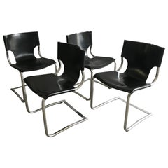 Mid-Century Modern Set of 4 Italian Chrome and Black Leather Dining Chairs