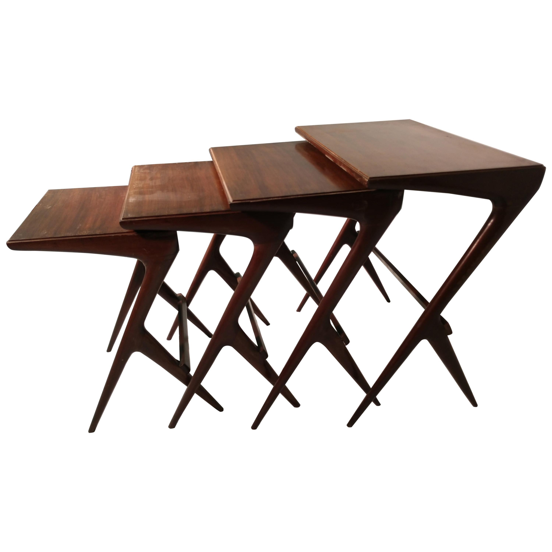 Mid-Century Modern Set of 4 Nesting Tables Ico Parisi