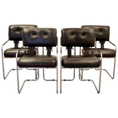 Mid-Century Modern Set of 4 Pace Tucoma Black Leather Dining Armchairs, 1970s