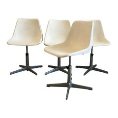 Mid-Century Modern Set of 4 Rotating Chairs by Robin Day for S.A.M.U., 1960s