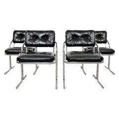 Mid-Century Modern Set of 4 Tubular Chrome Side Chairs Cal-Style Jerry Johnson