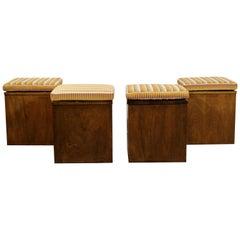 Mid-Century Modern Set of 4 Walnut Cube Seats Stools Ottomans, 1960s