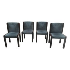 Mid-Century Modern Set of 4 Wooden Dining Chairs with Original Velvet Seat