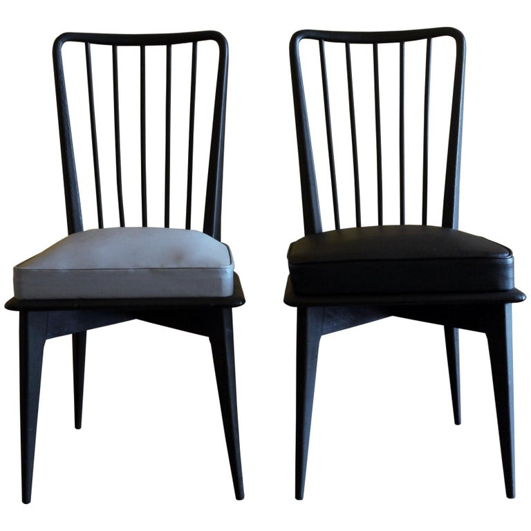 Mid-Century Modern Set of 6 French Black and Gray Chairs by Charles Ramos For Sale