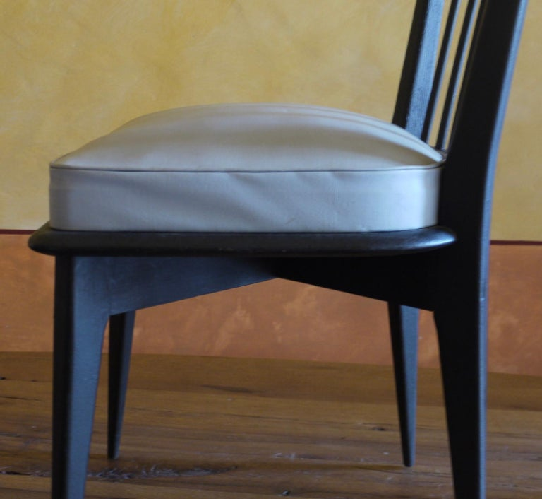 Mid-Century Modern Set of 6 French Black and Gray Chairs by Charles Ramos For Sale 4