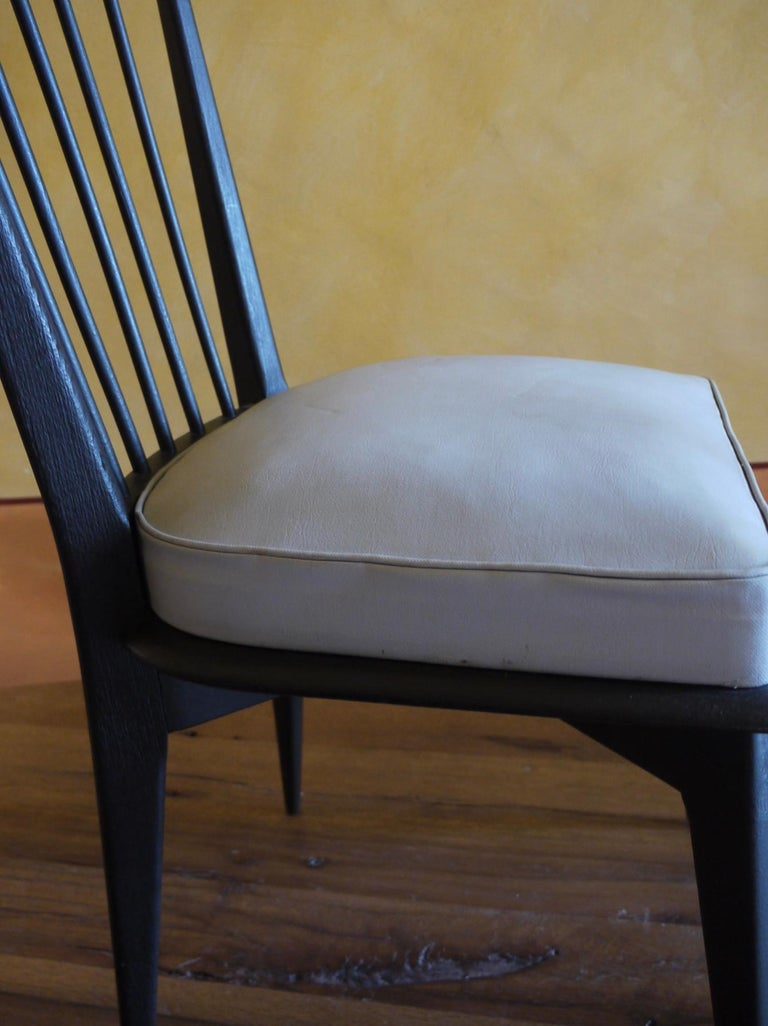 Mid-Century Modern Set of 6 French Black and Gray Chairs by Charles Ramos For Sale 5