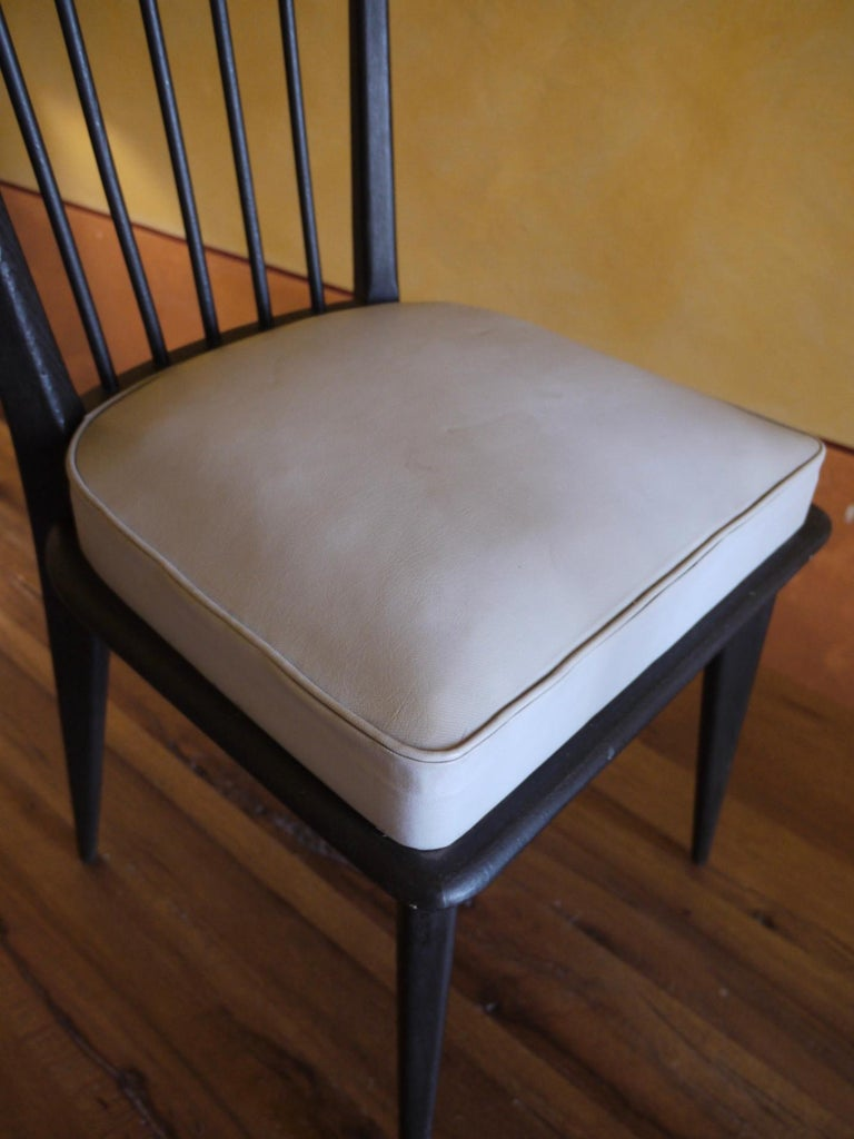 Mid-Century Modern Set of 6 French Black and Gray Chairs by Charles Ramos For Sale 6