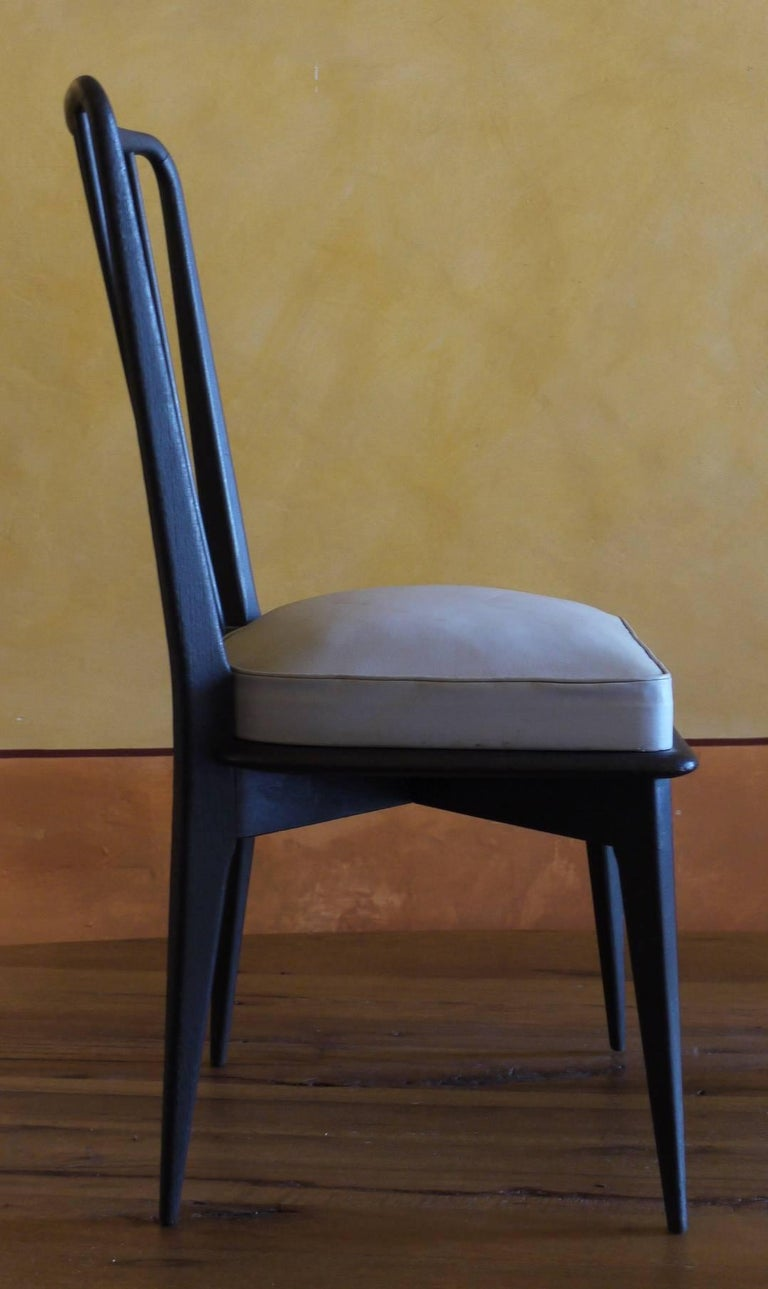 Painted Mid-Century Modern Set of 6 French Black and Gray Chairs by Charles Ramos For Sale