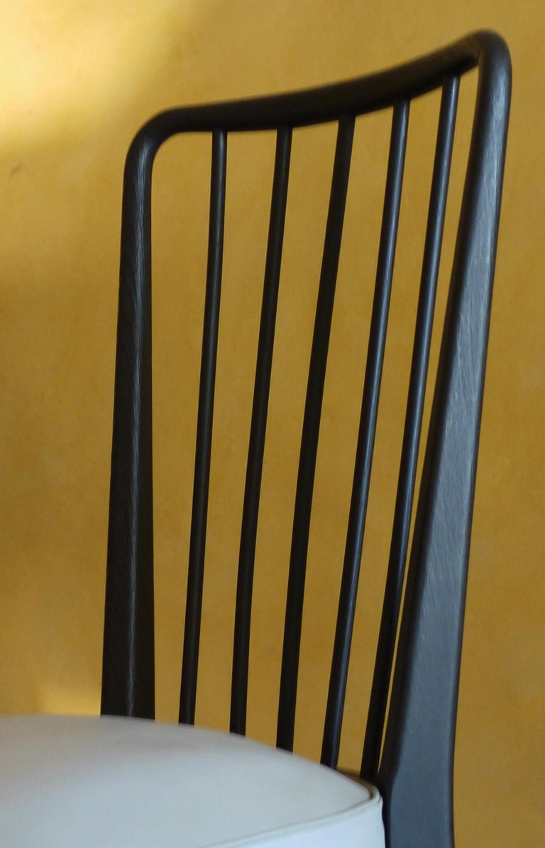 Mid-Century Modern Set of 6 French Black and Gray Chairs by Charles Ramos For Sale 2