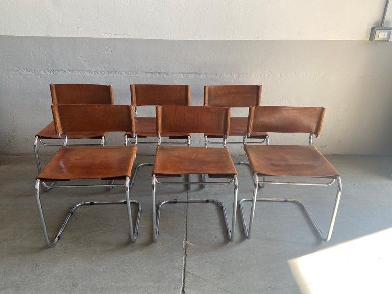 "Mid-Century Modern Set of 6 Italian Leather ""Terrj"