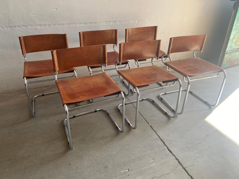 "Late 20th Century Mid-Century Modern Set of 6 Italian Leather ""Terrj"