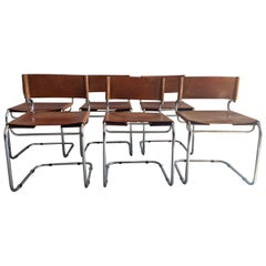 "Mid-Century Modern Set of 6 Italian Leather ""Terrj"" Chairs by Luigi Saccardo"