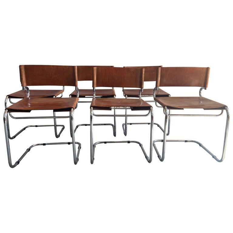 "Mid-Century Modern Set of 6 Italian Leather ""Terrj"" Chairs by Luigi Saccardo For Sale"
