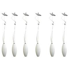 Mid-Century Modern Set of 6 Luminaire Glass Light Fixtures Hanging Pendants