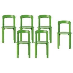 Mid-Century Modern, Set of 6 Rey, Apple Green Chairs by Dietiker, Design 1971