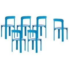 Mid-Century Modern, Set of 6 Rey, Blue Dining Chairs by Dietiker, Design 1971