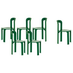 Mid-Century Modern, Set of 6 Rey, Green Dining Chairs by Dietiker, Design 1971