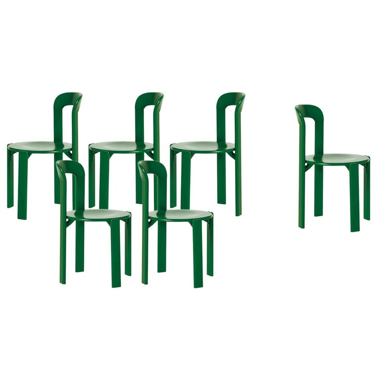 Mid-Century Modern, Set of 6 Rey, Green Dining Chairs by Dietiker, Design 1971 For Sale
