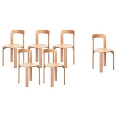 Mid-Century Modern, Set of 6 Rey, Natural Dining Chairs by Dietiker, Design 1971