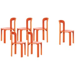 Mid-Century Modern, Set of 6 Rey, Orange Dining Chairs by Dietiker, Design 1971