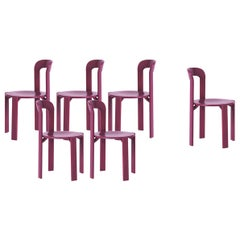 Mid-Century Modern, Set of 6 Rey, Purple Dining Chairs by Dietiker, Design 1971