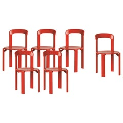 Mid-Century Modern, Set of 6 Rey, Red Dining Chairs by Dietiker, 'Design 1971'