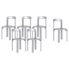 Mid-Century Modern, Set of 6 Rey, Silver Dining Chairs by Dietiker, Design 1971