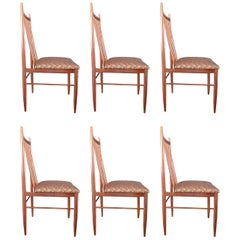 Mid-Century Modern Set of 6 Rosewood Spindle Back Dining Chairs, 1960s