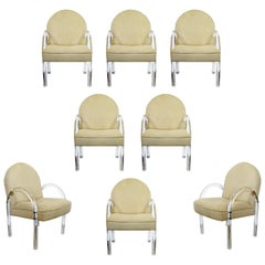 Mid-Century Modern Set of 8 Pace Waterfall Lucite Dining Armchairs, 1970s