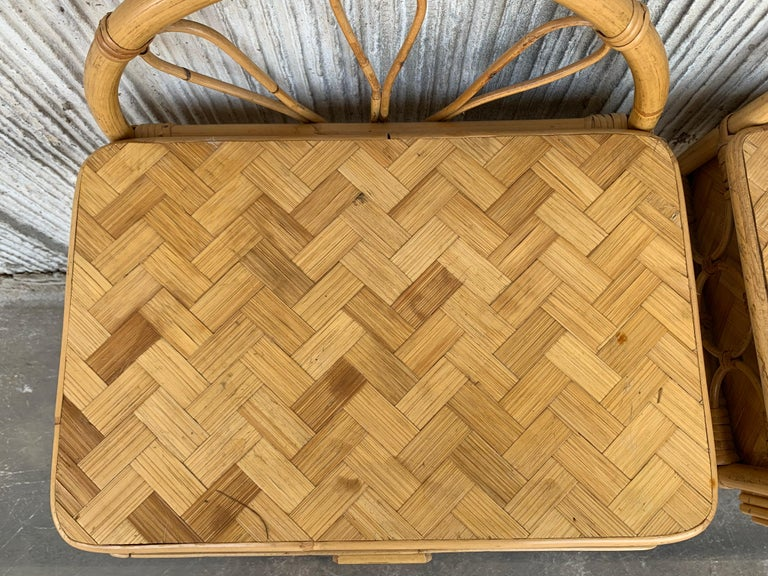 Mid-Century Modern Set of Bamboo and Bentwood Headboard and Two Nightstands For Sale 5