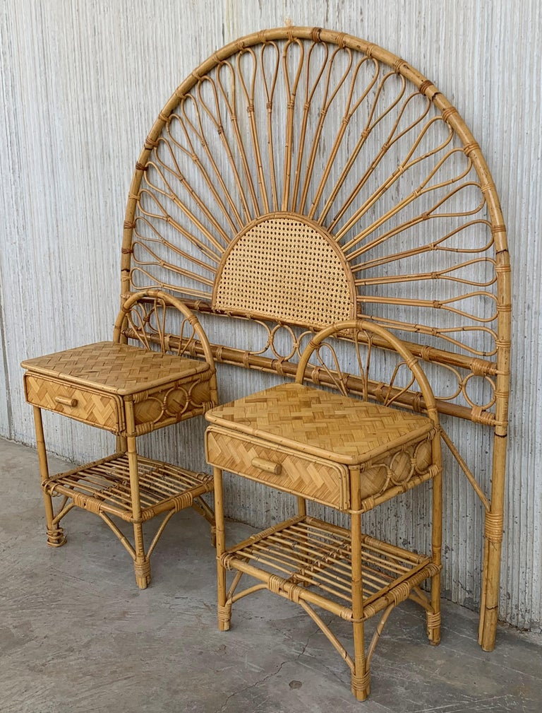 Spanish Mid-Century Modern Set of Bamboo and Bentwood Headboard and Two Nightstands For Sale