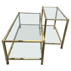 Mid-Century Modern Set of Brass Side Table and End Console Table with Glass