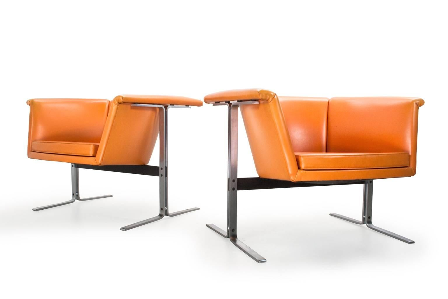 Dutch Mid Century Modern Set Of Faux Leather Lounge Chairs By Geoffrey  Harcourt, 1963