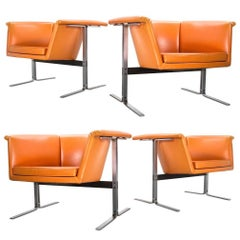 Mid-Century Modern Set of Faux Leather Lounge Chairs by Geoffrey Harcourt, 1963