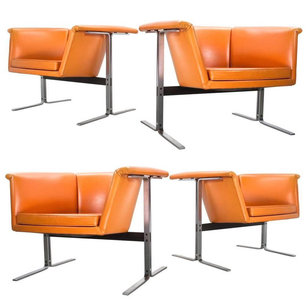 Lovely Mid Century Modern Set Of Faux Leather Lounge Chairs By Geoffrey Harcourt,  1963 For
