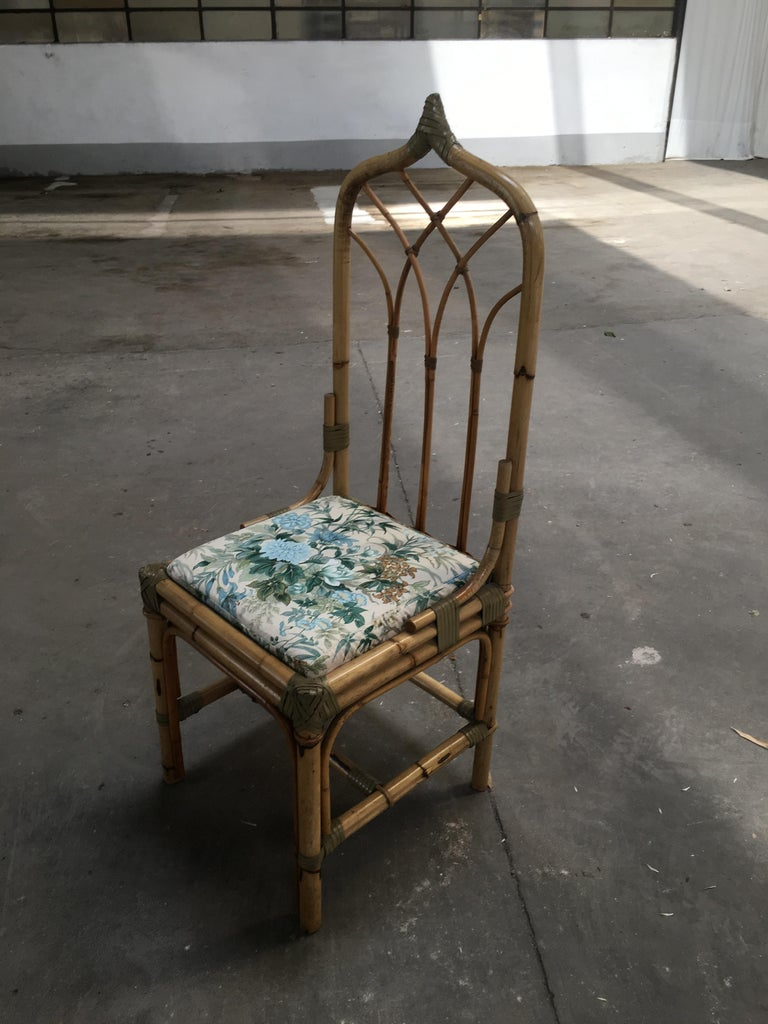 Mid-Century Modern Set of Four Bamboo Italian Chairs with Floral Cushions For Sale 5
