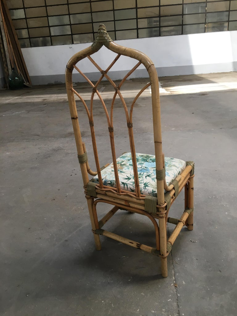Mid-Century Modern Set of Four Bamboo Italian Chairs with Floral Cushions For Sale 6
