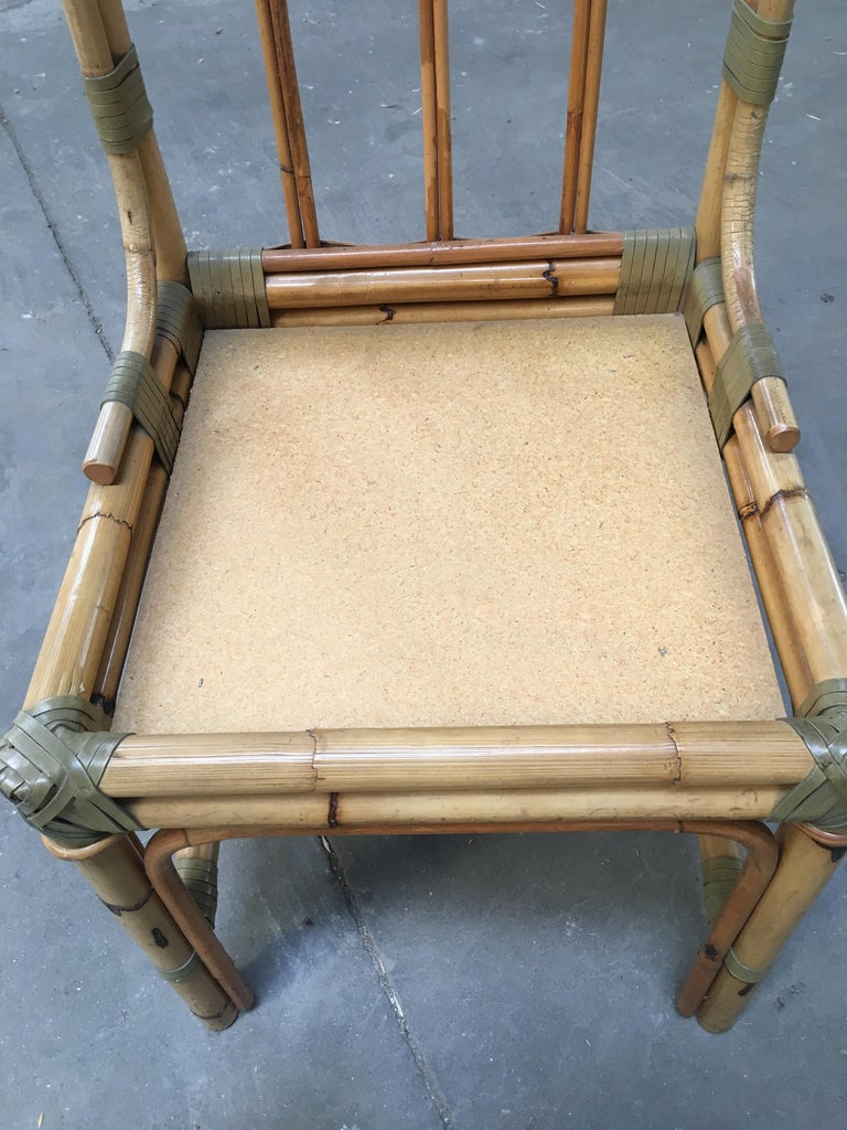 Mid-Century Modern Set of Four Bamboo Italian Chairs with Floral Cushions For Sale 9
