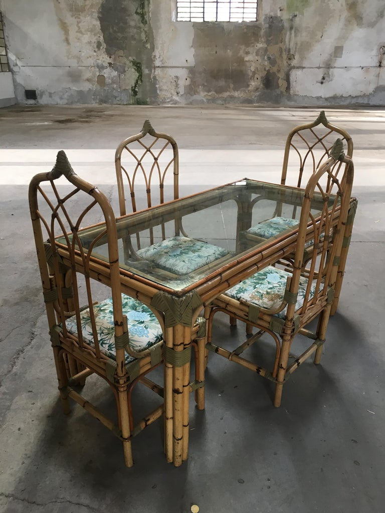 Mid-Century Modern Set of Four Bamboo Italian Chairs with Floral Cushions For Sale 10