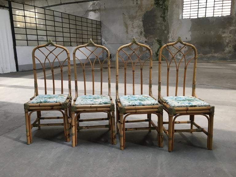 Mid-20th Century Mid-Century Modern Set of Four Bamboo Italian Chairs with Floral Cushions For Sale