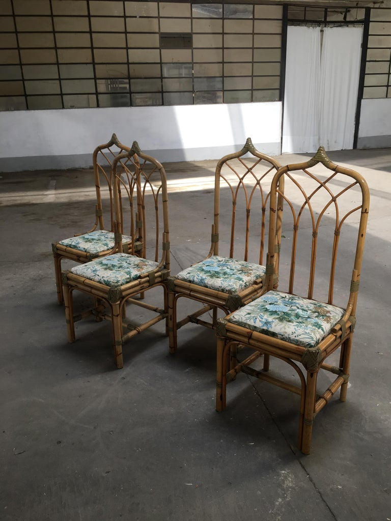 Leather Mid-Century Modern Set of Four Bamboo Italian Chairs with Floral Cushions For Sale