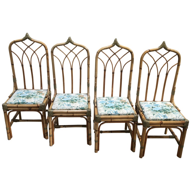 Mid-Century Modern Set of Four Bamboo Italian Chairs with Floral Cushions For Sale