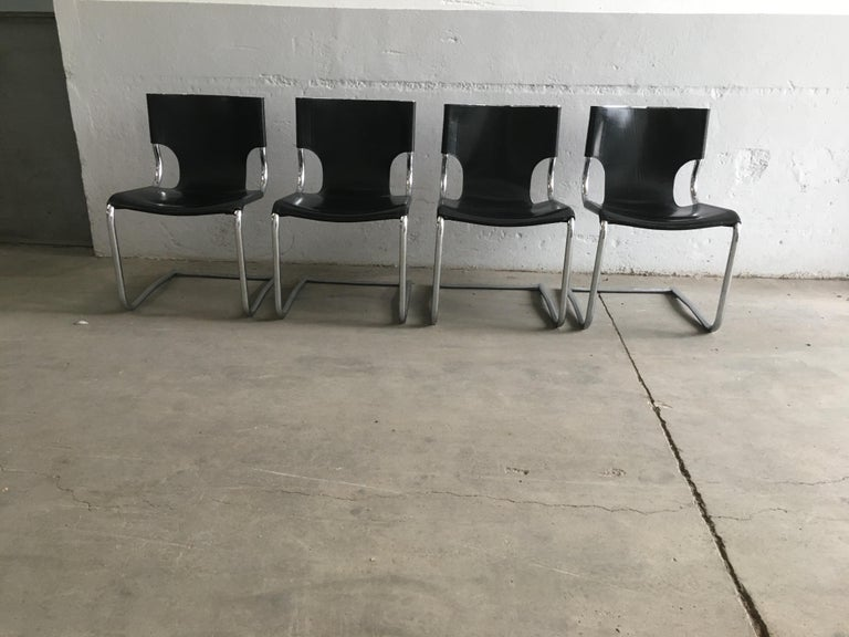 Mid-Century Modern Set of Four Italian Chrome and Black Leather Dining or Office Chairs. 1970s