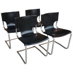 Mid-Century Modern Set of Four Italian Chrome and Leather Chairs. 1970s