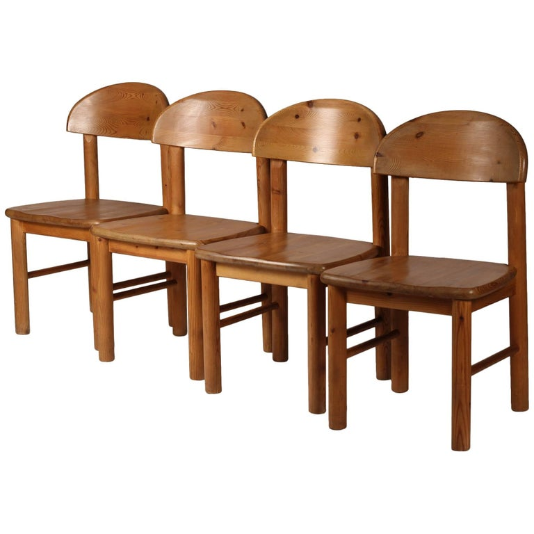 Mid-Century Modern Set of Four Pine Danish Chairs by Rainer Daumiller
