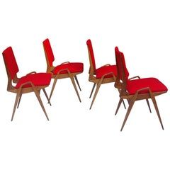 Mid-Century Modern Set of Four Red Chairs with Armrests in Wood, France, 1950s